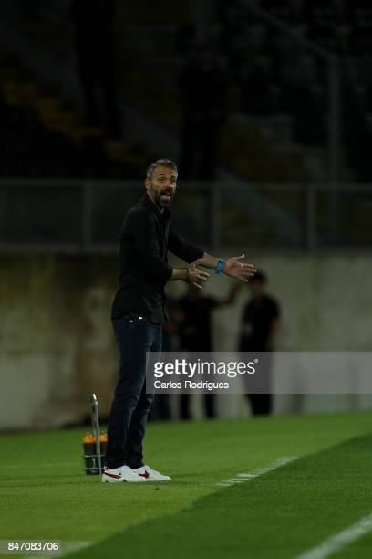 Salzburg head coach Marco Rose from Germany during the match between Vitoria Guimaraes and RB Salzburg for UEFA Europa League at Estadio da Dom...