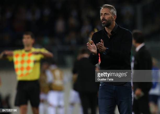 Salzburg head coach Marco Rose from Germany in action during the UEFA Europa League match between Vitoria de Guimaraes and RB Salzburg at Estadio D...