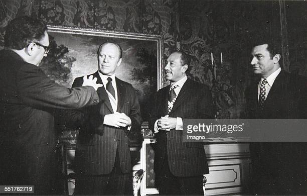Salzburg Meeting of Egyptian President Mohammed Anwar as Sadat with US President Gerald Ford 1974 Photograph by Harry Weber / Vienna