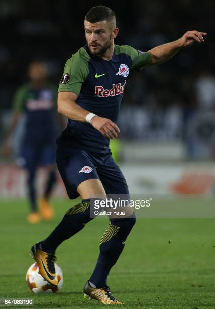 Salzburg midfielder Valon Berisha from Kosovo in action during the UEFA Europa League match between Vitoria de Guimaraes and RB Salzburg at Estadio D...