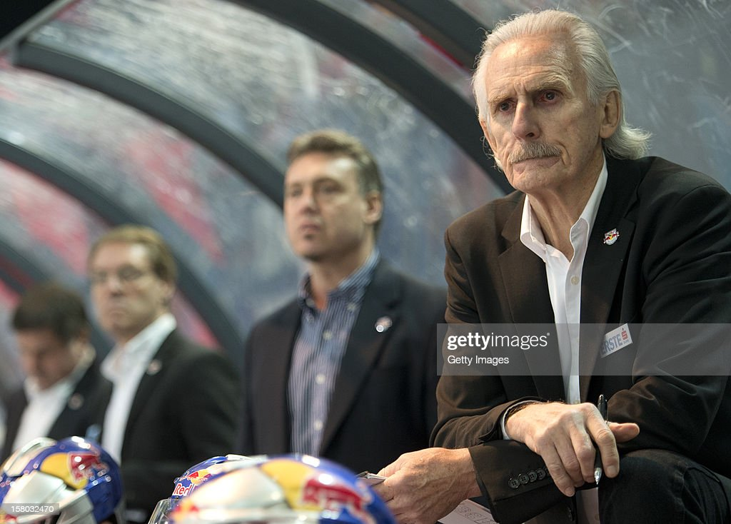 Salzburg's assistent coach George Kingston looks on during the Erste Bank Eishockey Liga match between EC Red Bull Salzburg and HDD TELEMACH Olimpija Ljubljana at Eisarena Salzburg on December 9, 2012 in Salzburg, Austria.