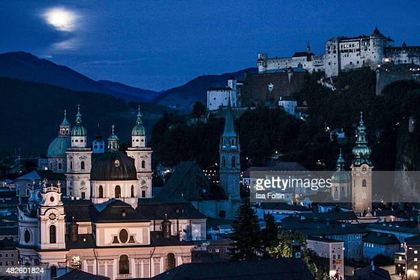 Salzburg's city centre with the Hohensalzburg Castle during the Audi Night 2015 on July 31 2015 in Salzburg Austria