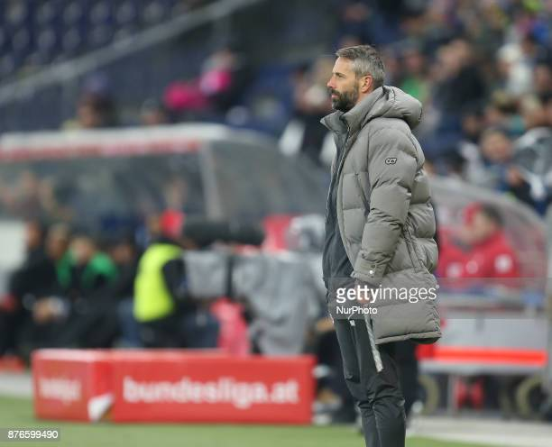 Salzburg's coach from Germany Marco Rose gestures during Austrian Bundesliga match between Red Bull Salzburg and Sturm Graz at WalsSiezenheim Stadium...