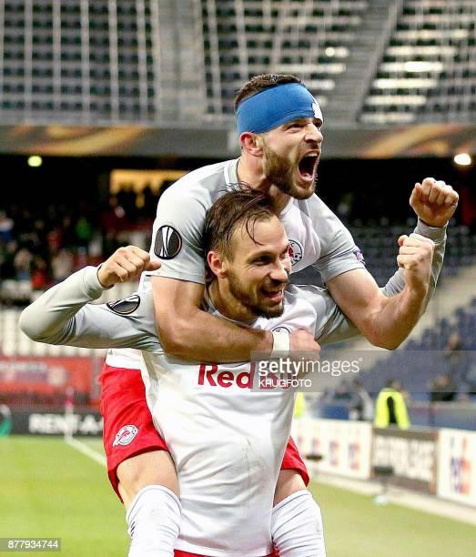 Salzburg's defender from Austria Andreas Ulmer celebrates scoring with Salzburg's midfielder from Norway Valon Berisha during the UEFA Europa League...
