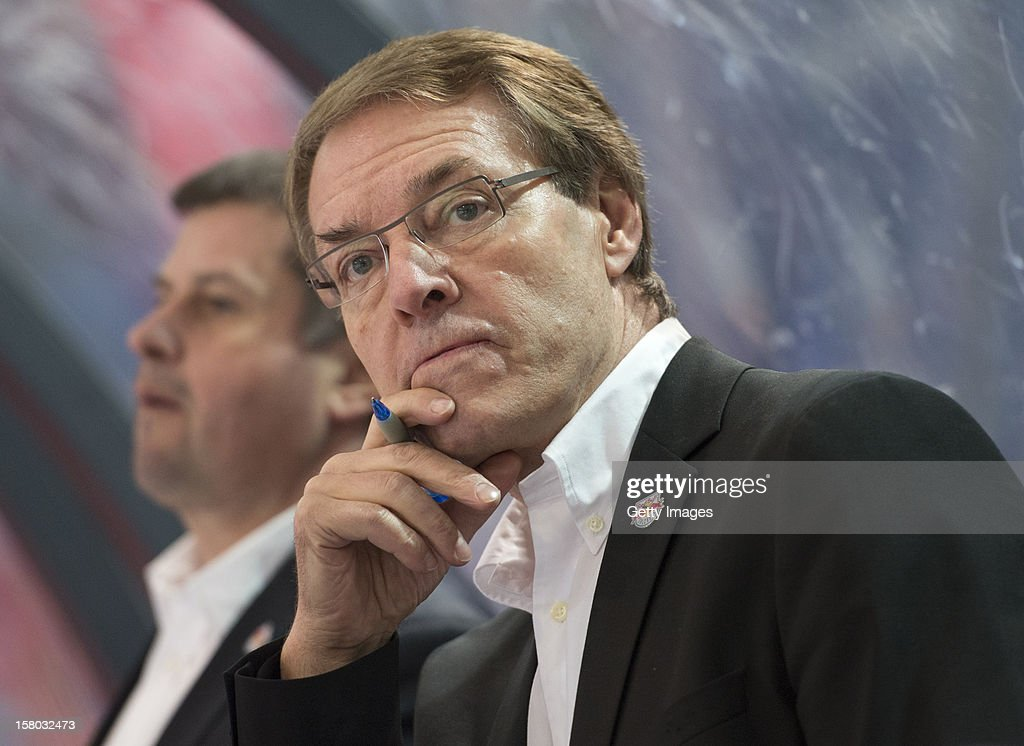 Salzburg's head coach Pierre Page looks on during the Erste Bank Eishockey Liga match between EC Red Bull Salzburg and HDD TELEMACH Olimpija Ljubljana at Eisarena Salzburg on December 9, 2012 in Salzburg, Austria.
