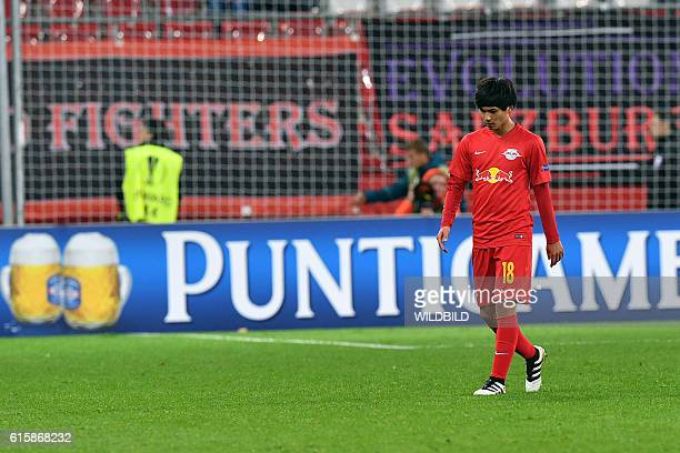 Salzburg's Takumi Minamino leaves the pitch after Europa League football match FC Salzburg v OGC Nice in Salzburg on October 20 2016 / AFP / WILDBILD