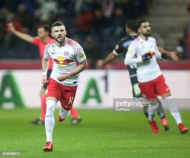 Salzburg's Valon Berisha Norwegian midfielder celebrates a goal during Austrian Bundesliga match between Red Bull Salzburg and Sturm Graz at...