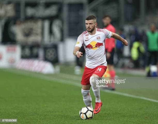 Salzburg's Valon Berisha Norwegian midfielder controls the ball during Austrian Bundesliga match between Red Bull Salzburg and Sturm Graz at...