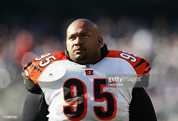 Sam Adams of the Cincinnati Bengals looks on during the game against the Baltimore Ravens at MT Bank Stadium on November 5 2006 in Baltimore Maryland...
