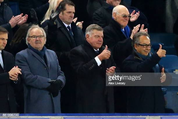 Sam Allardyce and Farhad Moshiri give a thumbs up to the players after the Premier League match between Everton and West Ham United at Goodison Park...
