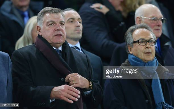 Sam Allardyce and Farhad Moshiri watches the match from the stand during the Premier League match between Everton and West Ham United at Goodison...
