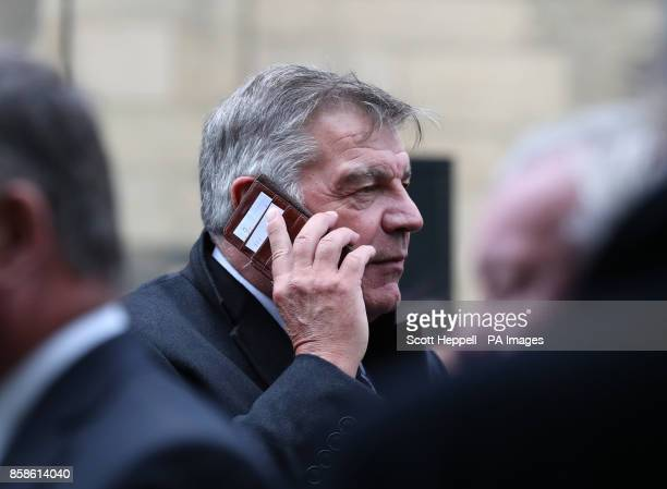 Sam Allardyce leaves after attending the funeral service of former Newcastle United chairman Freddy Shepherd at St George's Church in Jesmond