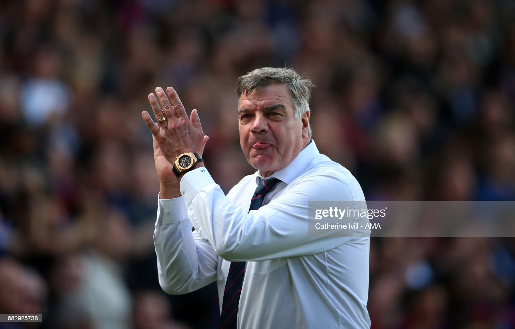 Sam Allardyce manager / head coach of Crystal Palace sticks his tongue out as he applauds during the Premier League match between Crystal Palace and Hull City at Selhurst Park on May 14, 2017 in London, England.