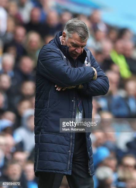 Sam Allardyce Manager of Crystal Palace looks dejected during the Premier League match between Manchester City and Crystal Palace at the Etihad...