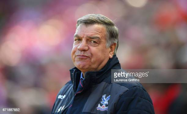 Sam Allardyce manager of Crystal Palace looks on during the Premier League match between Liverpool and Crystal Palace at Anfield on April 23 2017 in...