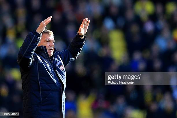 Sam Allardyce manager of Crystal Palace reacts during the Premier League match between Watford and Crystal Palace at Vicarage Road on December 26...