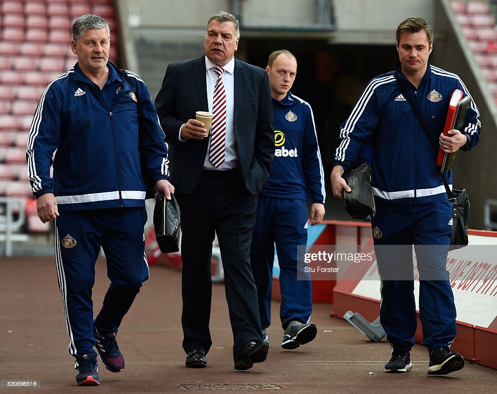 Sam Allardyce manager of Sunderland arrives with assistant Paul Bracewell prior to the Barclays Premier League match between Sunderland and Everton...