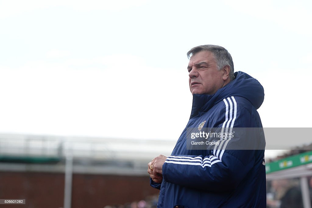 Sam Allardyce, manager of Sunderland looks on prior to the Barclays Premier League match between Stoke City and Sunderland at the Britannia Stadium on April 30, 2016 in Stoke on Trent, England.