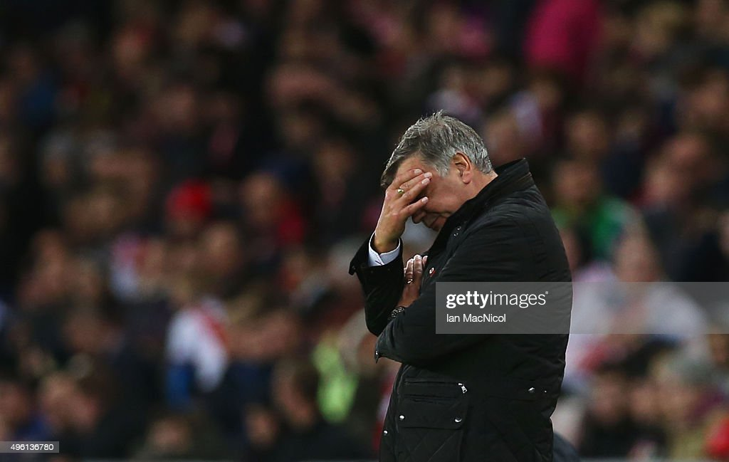 <a gi-track='captionPersonalityLinkClicked' href=/galleries/search?phrase=Sam+Allardyce&family=editorial&specificpeople=214691 ng-click='$event.stopPropagation()'>Sam Allardyce</a>, manager of Sunderland reacts during the Barclays Premier League match between Sunderland and Southampton at Stadium of Light on November 7, 2015 in Sunderland, England.