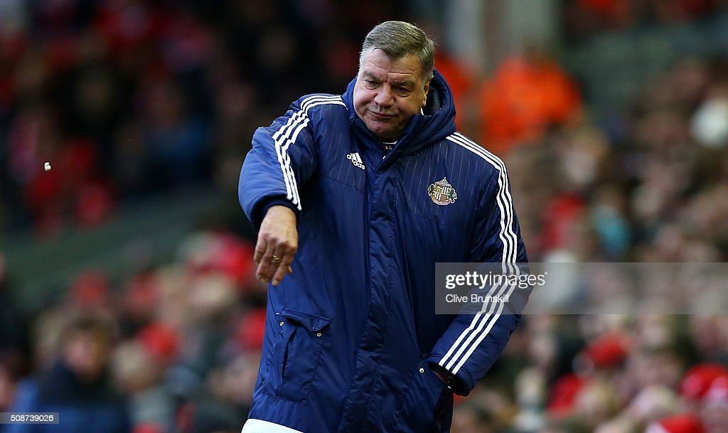 <a gi-track='captionPersonalityLinkClicked' href=/galleries/search?phrase=Sam+Allardyce&family=editorial&specificpeople=214691 ng-click='$event.stopPropagation()'>Sam Allardyce</a>, manager of Sunderland reacts during the Barclays Premier League match between Liverpool and Sunderland at Anfield on February 6, 2016 in Liverpool, England.