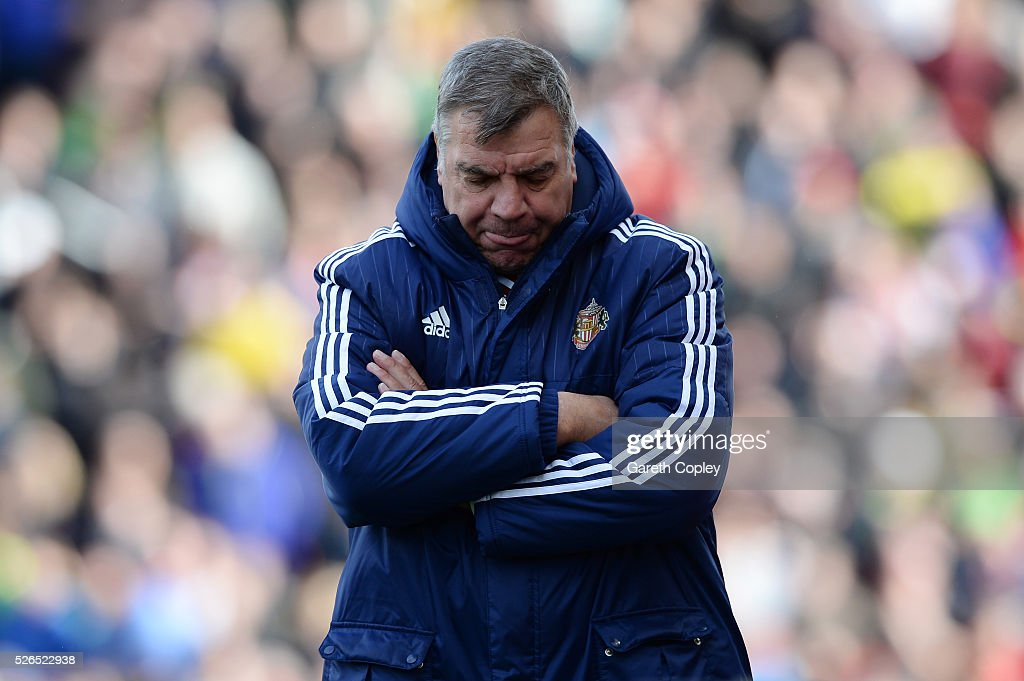 Sam Allardyce, manager of Sunderland reacts during the Barclays Premier League match between Stoke City and Sunderland at the Britannia Stadium on April 30, 2016 in Stoke on Trent, England.