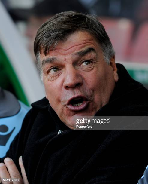 Sam Allardyce manager of West Ham during the Barclays Premier League match between Stoke City and West Ham United at the Britannia Stadium on March 2...