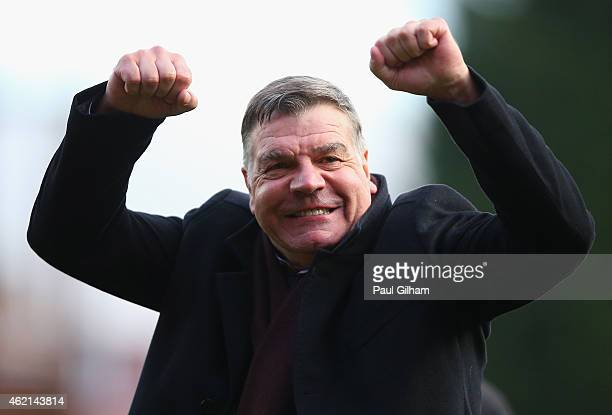 Sam Allardyce Manager of West Ham United celebrates after the final whistle during the FA Cup Fourth Round match between Bristol City and West Ham...