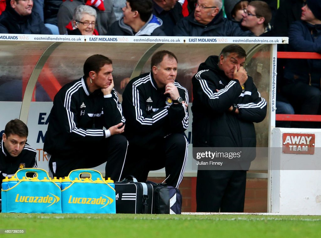 Sam Allardyce manager of West Ham United (R) looks dejected on the bench during the FA Cup with Budweiser Third round match between Nottingham Forest and West Ham United at City Ground on January 5, 2014 in Nottingham, England.