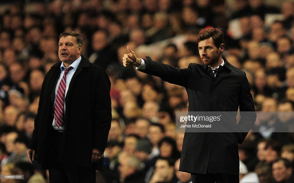 <a gi-track='captionPersonalityLinkClicked' href=/galleries/search?phrase=Sam+Allardyce&family=editorial&specificpeople=214691 ng-click='$event.stopPropagation()'>Sam Allardyce</a>, manager of West Ham United looks on as Tottenham Hotspur manager Andre Villas Boas gives the thumbs up during the Barclays Premier League match between Tottenham Hotspur and West Ham United at White Hart Lane on November 25, 2012 in London, England.
