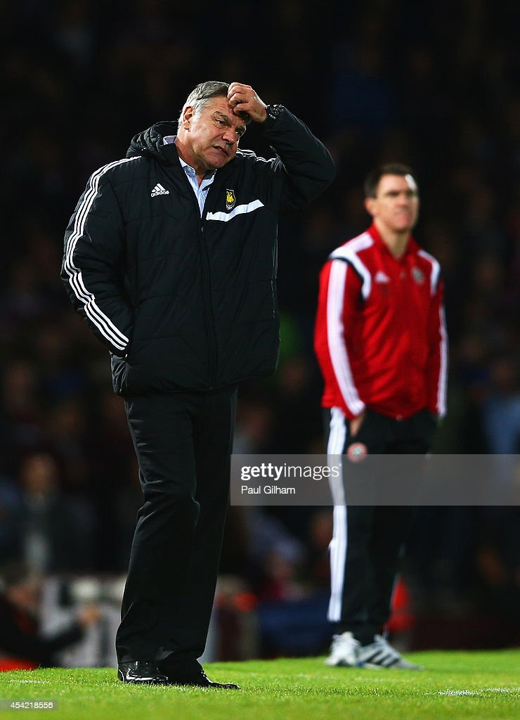 Sam Allardyce, manager of West Ham United shows his despair during the Capital One Cup Second Round match between West Ham United and Sheffield United at Boleyn Ground on August 26, 2014 in London, England.