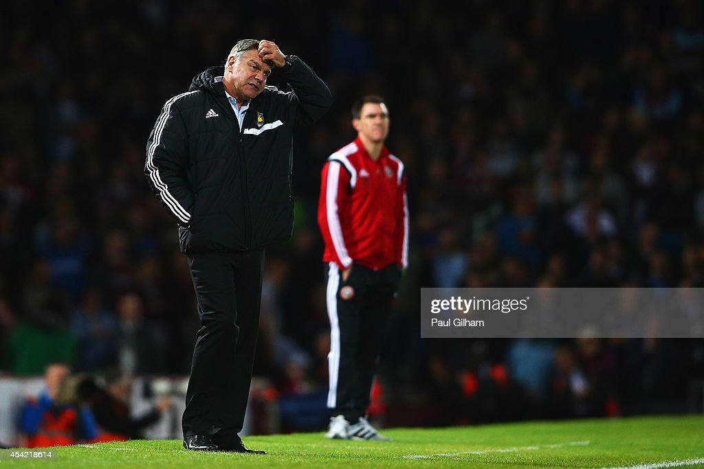 <a gi-track='captionPersonalityLinkClicked' href=/galleries/search?phrase=Sam+Allardyce&family=editorial&specificpeople=214691 ng-click='$event.stopPropagation()'>Sam Allardyce</a>, manager of West Ham United shows his despair during the Capital One Cup Second Round match between West Ham United and Sheffield United at Boleyn Ground on August 26, 2014 in London, England.