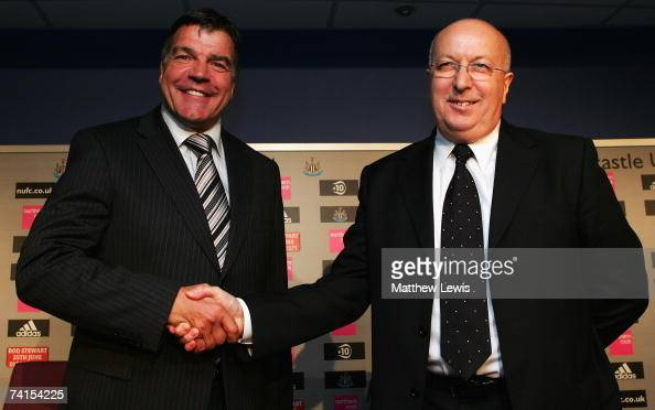 Sam Allardyce shakes hands with NUFC Chief Operating Officer Russell Cushing after being unveiled as the new Newcastle United manager at St James'...