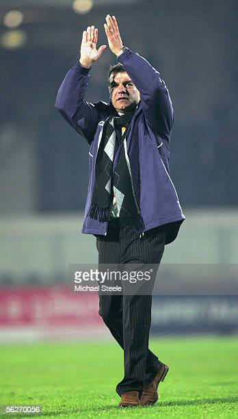Sam Allardyce the Bolton manager applauds the travelling fans at the final whistle during the UEFA Cup Group H match between Guimaraes and Bolton...