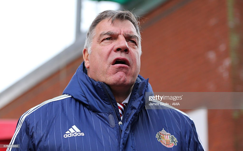 Sam Allardyce the head coach / manager of Sunderland during the Barclays Premier League match between Stoke City and Sunderland at Britannia Stadium on April 30, 2016 in Stoke on Trent, England