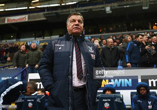 Sam Allardyce the manager of Crystal Palace looks on during the Emirates FA Cup third round match between Bolton Wanderers and Crystal Palace at the...