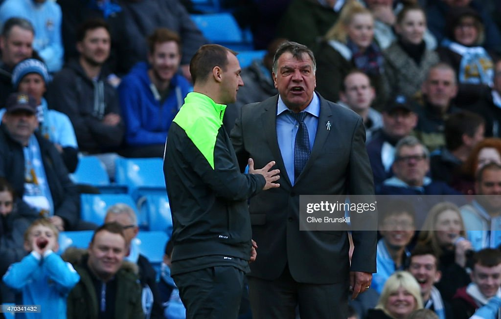 Sam Allardyce the West Ham manager has words with the fourth officials during the Barclays Premier League match between Manchester City and West Ham United at Etihad Stadium on April 19, 2015 in Manchester, England.