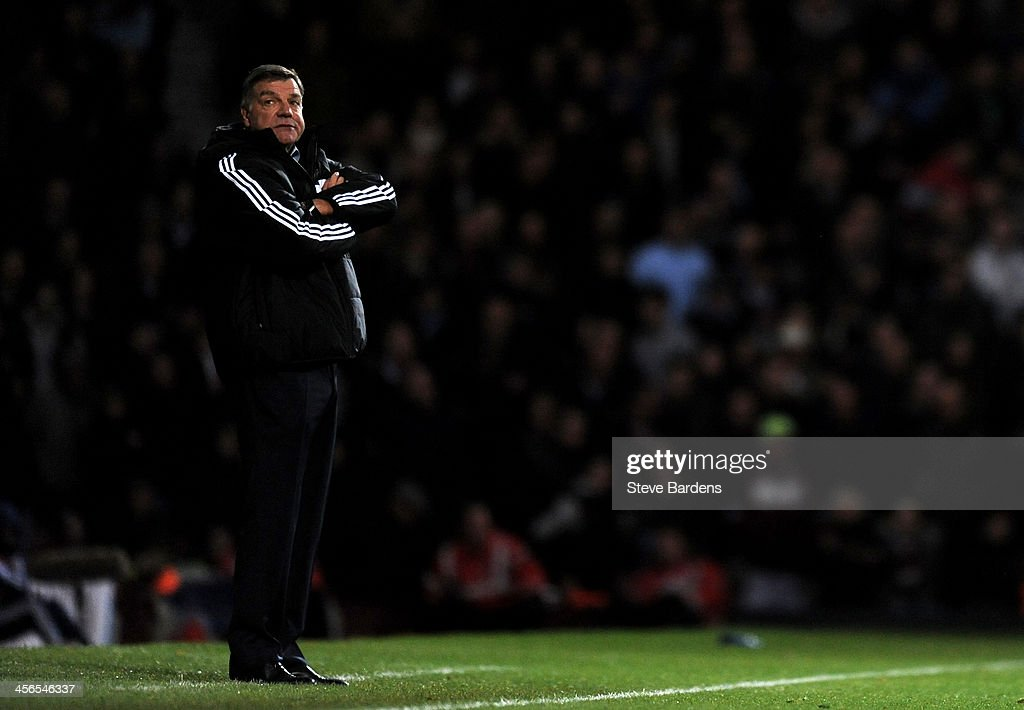 <a gi-track='captionPersonalityLinkClicked' href=/galleries/search?phrase=Sam+Allardyce&family=editorial&specificpeople=214691 ng-click='$event.stopPropagation()'>Sam Allardyce</a> the West Ham manager looks on during the Barclays Premier League match between West Ham United and Sunderland at Boleyn Ground on December 14, 2013 in London, England.