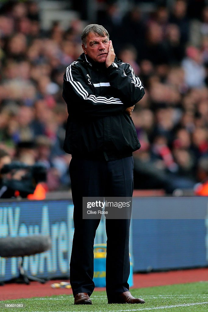 <a gi-track='captionPersonalityLinkClicked' href=/galleries/search?phrase=Sam+Allardyce&family=editorial&specificpeople=214691 ng-click='$event.stopPropagation()'>Sam Allardyce</a> the West Ham manager looks on from the sideline during the Barclays Premier League match between Southampton and West Ham United at St Mary's Stadium on September 15, 2013 in Southampton, England.