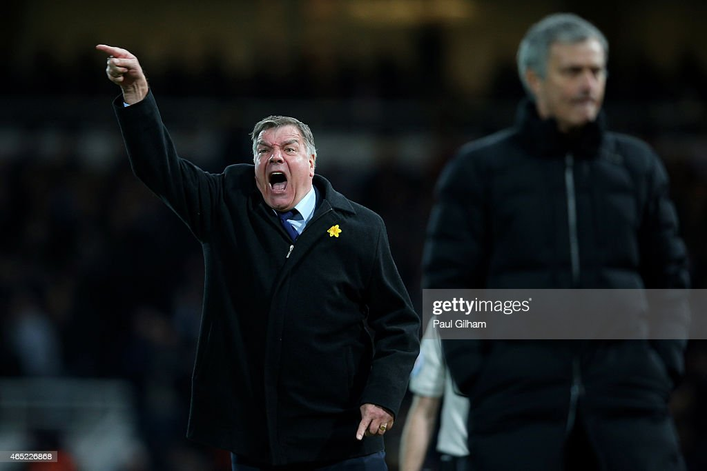 <a gi-track='captionPersonalityLinkClicked' href=/galleries/search?phrase=Sam+Allardyce&family=editorial&specificpeople=214691 ng-click='$event.stopPropagation()'>Sam Allardyce</a> the West Ham manager reacts as Jose Mourinho the manager of Chelsea looks on during the Barclays Premier League match between West Ham and Chelsea at the Boleyn Ground on March 4, 2015 in London, England.