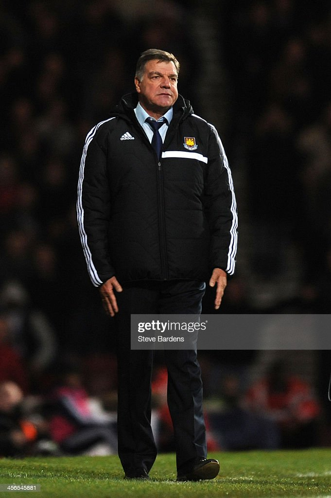 <a gi-track='captionPersonalityLinkClicked' href=/galleries/search?phrase=Sam+Allardyce&family=editorial&specificpeople=214691 ng-click='$event.stopPropagation()'>Sam Allardyce</a> the West Ham manager reacts during the Barclays Premier League match between West Ham United and Sunderland at Boleyn Ground on December 14, 2013 in London, England.
