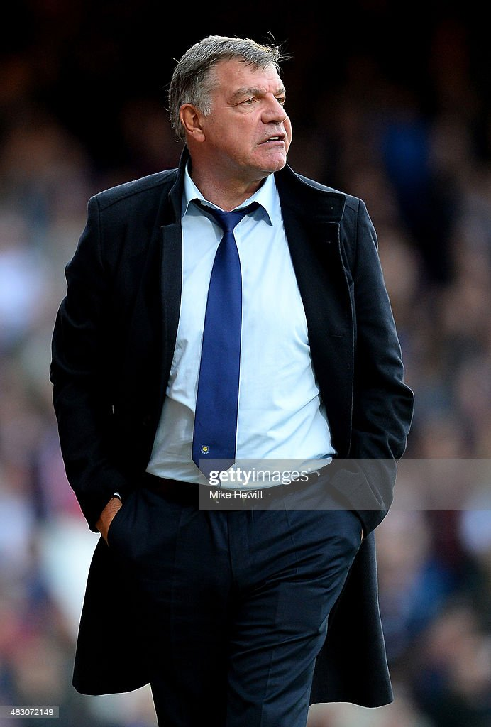 <a gi-track='captionPersonalityLinkClicked' href=/galleries/search?phrase=Sam+Allardyce&family=editorial&specificpeople=214691 ng-click='$event.stopPropagation()'>Sam Allardyce</a> the West Ham manager reacts during the Barclays Premier League match between West Ham United and Liverpool at Boleyn Ground on April 6, 2014 in London, England.