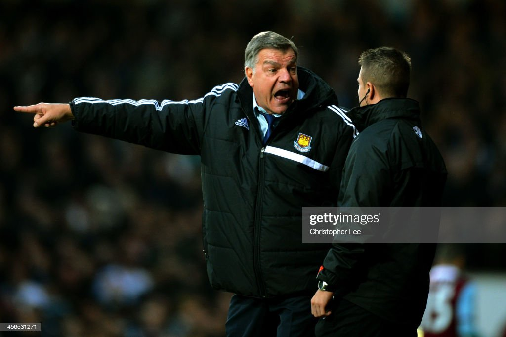 <a gi-track='captionPersonalityLinkClicked' href=/galleries/search?phrase=Sam+Allardyce&family=editorial&specificpeople=214691 ng-click='$event.stopPropagation()'>Sam Allardyce</a> the West Ham manager remonstrates with the forth official during the Barclays Premier League match between West Ham United and Sunderland at Boleyn Ground on December 14, 2013 in London, England.