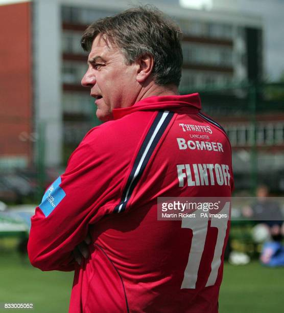 Sam Allardyce wears Andrew Flintoff's shirt for a session in the nets during the PFA Centenary launch at Old Trafford Manchester