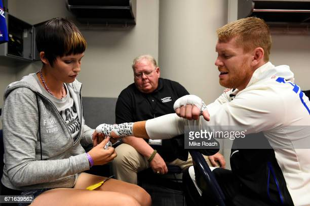 Sam Alvey has his hands wrapped prior to his bout against Thales Leites of Brazil during the UFC Fight Night event at Bridgestone Arena on April 22...