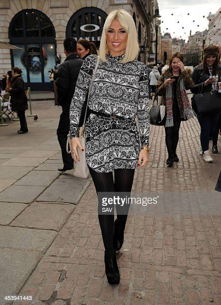 Sam and Billie Faiers arrive at Covent Garden for the opening of The Casio store on December 6 2013 in London England