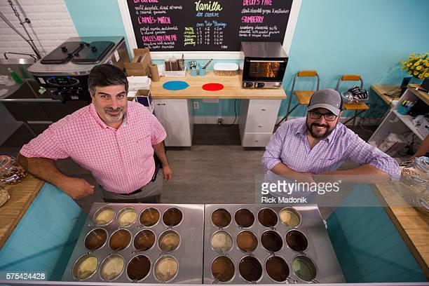 Sam Arif and Francisco Landaeta coowners cofounders of la Diperie at their newest corporate store on the Danforth Its the first step outside of...