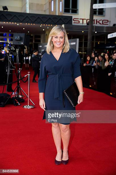 Sam Armytage arrives ahead of the Jason Bourne Australian Premiere at Hoyts Entertainment Quarter on July 3 2016 in Sydney Australia