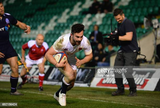 Sam AsplandRobinson of England U20 scoring their second try during the Under 20s Six Nations Rugby match between England U20 and Scotland U20 at...