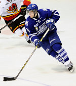 Sam Babintsev of the Mississauga Steelheads controls the puck against the Belleville Bulls during the OHL game on January 16 2015 at the Hershey...