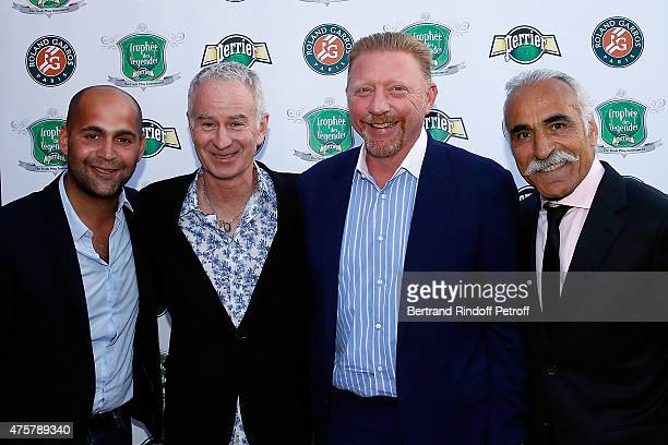 Sam Bahrami John McEnroe Boris Becker and Mansour Bahrami attend the Trophee des Legendes Dinner at Le Fouquet's champs Elysees on June 3 2015 in...